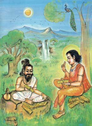 Agastya learns Tamil from Lord Murugan