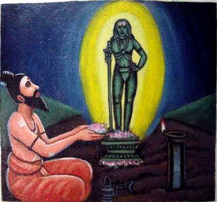 Bhogar worshipping Lord Dandāyudhapāni.
