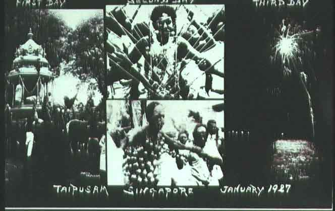 A picture postcard depicting a three day Thaipusam celebration in Singapore, January 1927