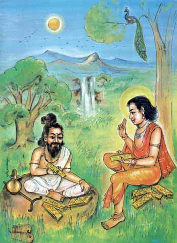 Lord Murukan teaches Tamil to Agastyar Rishi