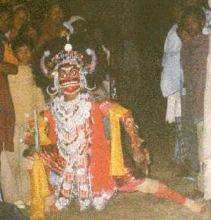 Tarakasura with red mask, takes his entry