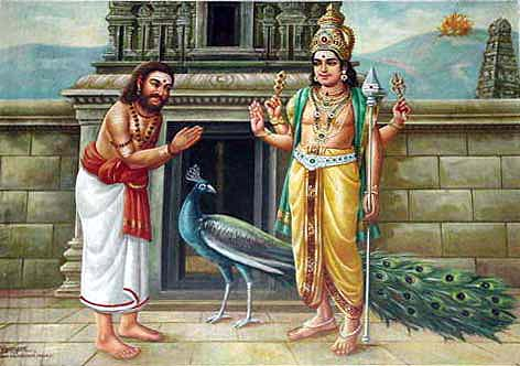 Arunagiri worships Lord Murugan who had just rescued him from certain death by suicide