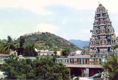 Tiruvavinankudi Temple with Palani Malai in background (18kb)