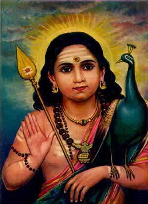 Bala Murugan the Divine Child (worth waiting for!) with His symbols the Vel Ayudha or Spear of Wisdom and vehicle/totem the Peacock = Phoenix. Behind Him rises the morning Sun symbolising bodhi (the awakened mind).
