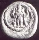 Standing Karttikeya with peacock on copper coin of Raghunatha Nayak, Tanjavur 17th cent.