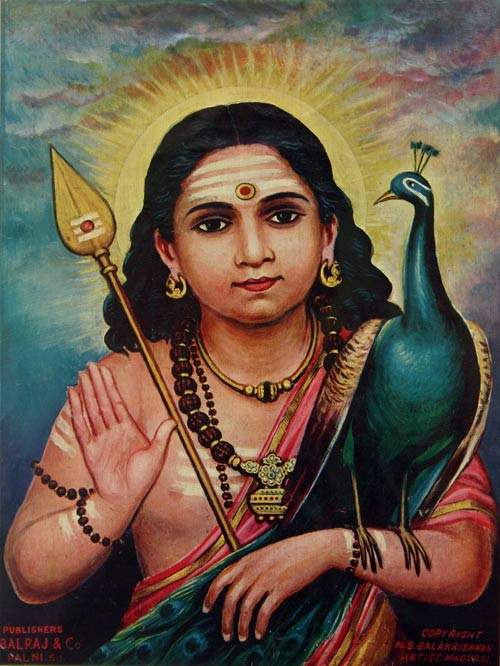 Sri Gnana Pandita: Murugan as Expositor of Gnosis with His symbols the Vel Ayudha or Spear of Wisdom and vehicle/totem the Peacock or Phoenix. Behind Him shines the brilliance of the rising sun representing the awakened brilliance (bodhi) of the Gyani or Comprehensor.