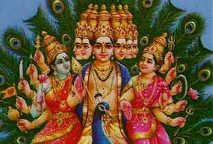 Lord Murugan with his divine consorts Valli and Teyvayanai
