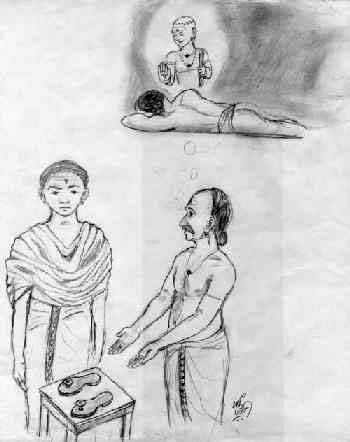 Pamban Swami accepts sandals from shoemaker who was ordered in a dream