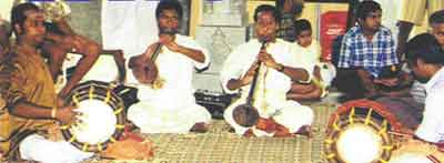 The music troupe brought from Tamilnadu