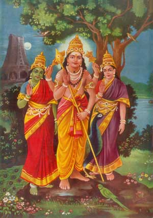 Murukan with Valli and Devasena