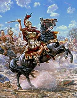 Alexander the Great and Greek Companion cavalry ride into battle